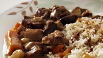 لحمة العجل مع الأرز